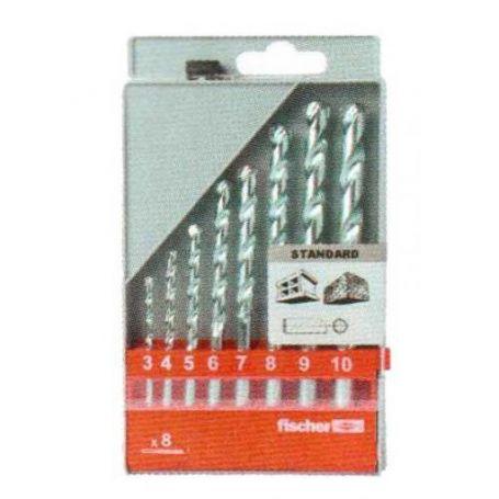 Estuche con 8 brocas S para pared (medidas de 3 a 10mm) Fischer