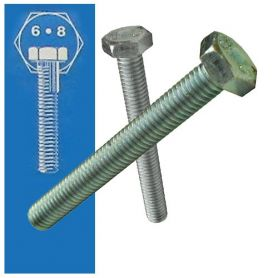 Tornillo cabeza hexagonal 6x25mm DIN 933 6.8 rosca total zincado (caja 500 unidades) GFD