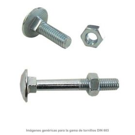 Tornillo negro DIN-603 con tuerca hexagonal 5x20mm zincado (caja 500 unidades) GFD