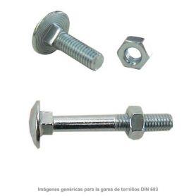Tornillo negro DIN-603 con tuerca hexagonal 6x40mm zincado (caja 200 unidades) GFD