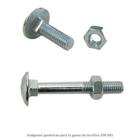 Tornillo negro DIN-603 con tuerca hexagonal 6x80mm zincado (caja 100 unidades) GFD