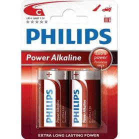 Pila alcalina LR14 Power Alkaline Philips (2 unidades)