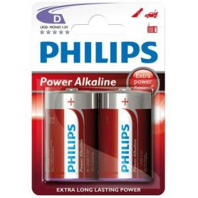 Pila alcalina LR20 Power Alkaline Philips (2 unidades
