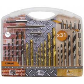 Estuche brocas madera-hormigón-metal 31 piezas leman