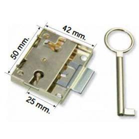 Cerradura de sobreponer de 25mm latonada Teicocil