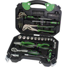 Caja de herramientas con vasos y alicates 54 pzas mader