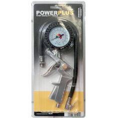 Pistola para inflar con manometro powerplus