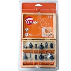 Juego de 12 fresas surtidas eje 8mm estuche madera Leman