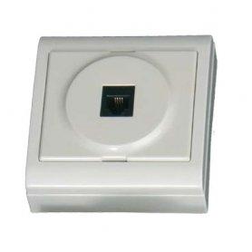 Base superficie telefono 6P4C 80x80mm blanco 16A 250W GSC Evolution