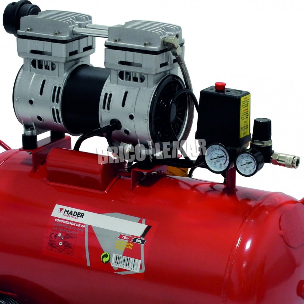 Compresor de aire silencioso 50 litros 1hp mader comprar for Compresor de aire silencioso