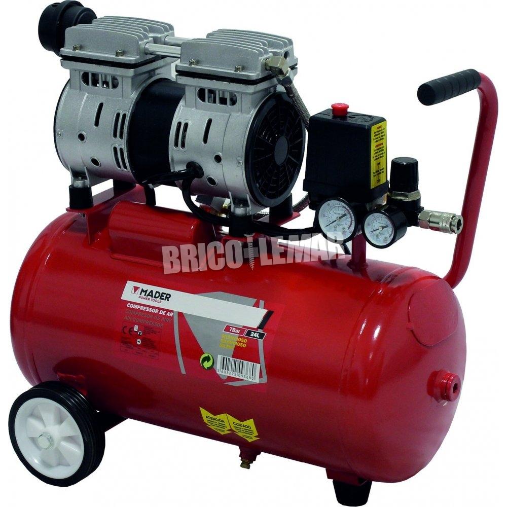 Compresor de aire silencioso 24 litros 075 hp mader for Compresor de aire silencioso
