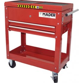 Carro para herramientas metálico con 3 compartimentos y ruedas Mader