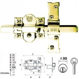 Cerrojo 301-RP/80 puerta blindada dorado bombillo 70mm FAC