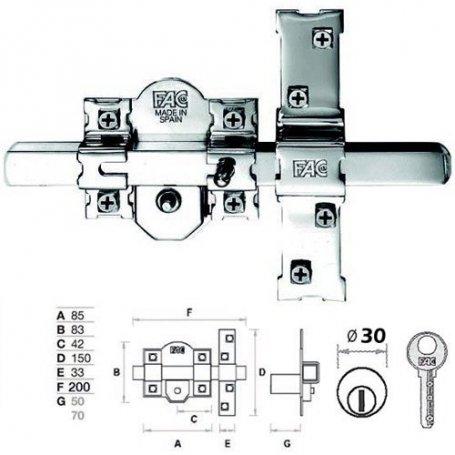Cerrojo 301-rp/80 puerta blindada niquel bombillo de 70 fac