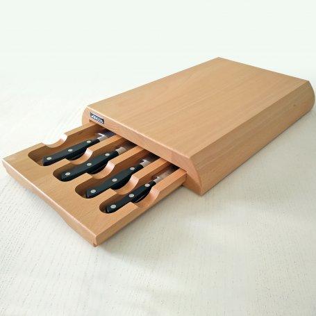 Juego de 4 cuchillos Riviera con tabla de corte y cajón portacuchillos Arcos