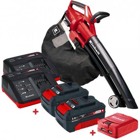 Kit Aspirador Soplador de hojas Einhel GE-CL 36 Li E + 2 Baterías 3Ah con cargadores + Adaptador USB
