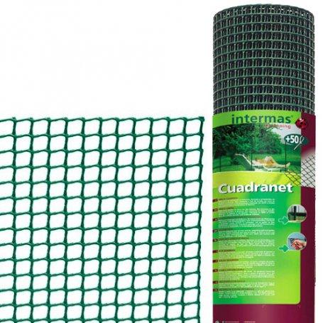 Malla plastico cuadrada (10x10) 1x5m verde ligera intermas