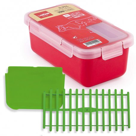Pack tupper Valira 0,75 litro frambuesa + separador + rejilla