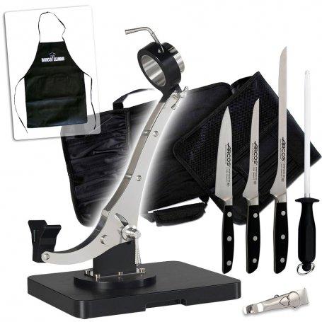 Conjunto jamonero Élite Plus inox PE-500 negro Buarfe + 3 cuchillos Manhattan + chaira y pinzas en bolsa portacuchillos Arcos