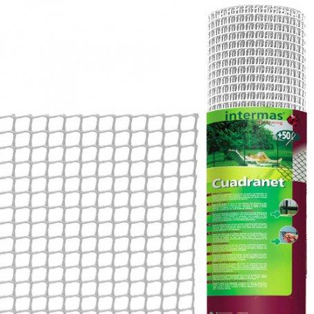 Malla plastico cuadrada (10x10) 1mt x25mts blanca ligera intermas