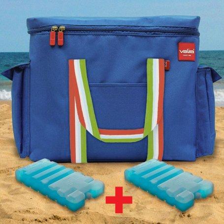 Kit bolsa térmica de playa 22 litros + 2 acumuladores de frío Valira