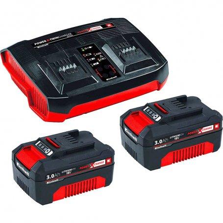 Juego de baterias de arranque pxc (2 baterias de 3 ah y cargador einhell
