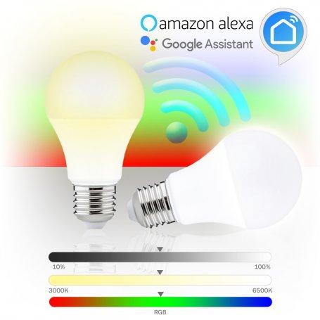 Pack de 2 Lámparas inteligentes led WiFi estándar E27 8W RGB 3000K-6500K GSC Evolution