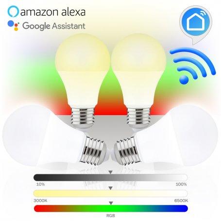 Pack de 4 Lámparas inteligentes led WiFi estándar E27 8W RGB 3000K-6500K GSC Evolution