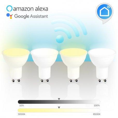 Pack de 4 Lámparaa inteligentea led WiFi dicroica GU10 5W 3000K-6500K GSC Evolution