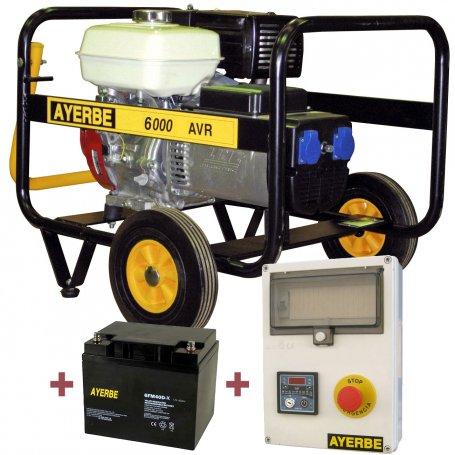 Kit generador Ayerbe 6000 H AVR E arranque automático con batería y cuadro de arranque
