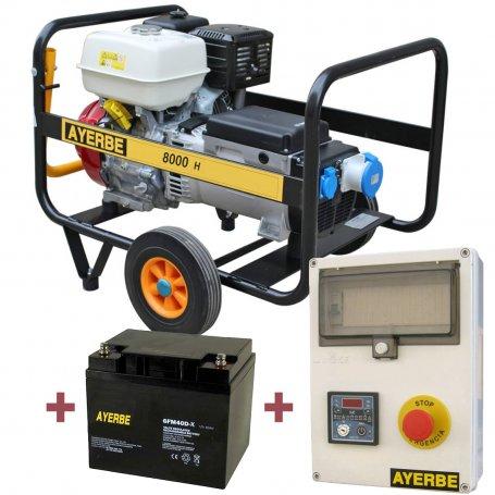 Kit generador Ayerbe 8000 H MN arranque automático con batería y cuadro de arranque
