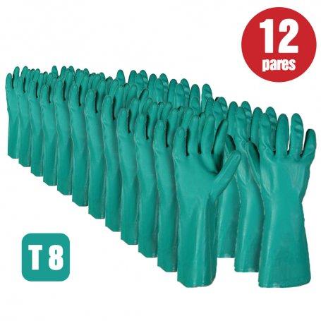 Lote de 12 pares de guantes nitrilo flockado verde talla 8 Cipisa