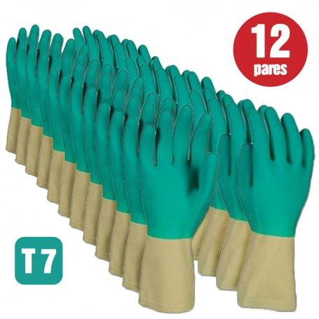 Lote de 12 pares de guantes de latex bicolor talla 7 Cipisa