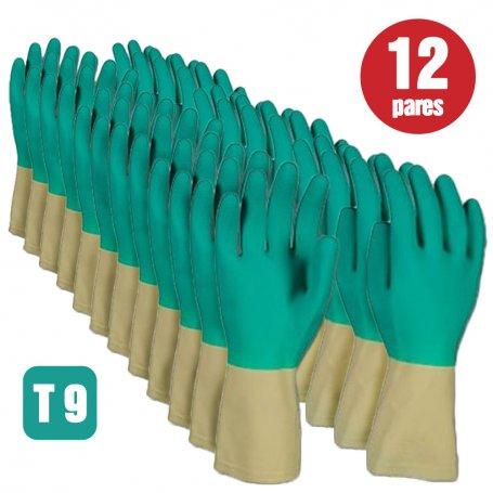 Lote de 12 pares de guantes de latex bicolor talla 9 Cipisa