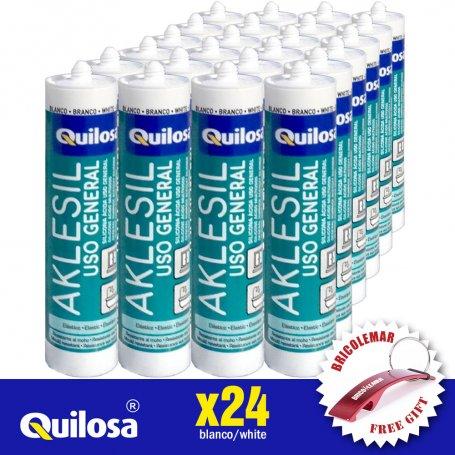 Silicona acida Aklesil blanco caja 24 unidades Quilosa