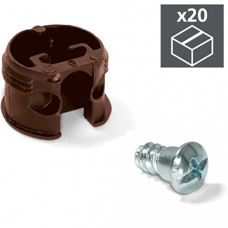 Lote de 20 enganches de unión para estantes Luna Ø20mm 13mm + pernos Ø6mm marrón Emuca