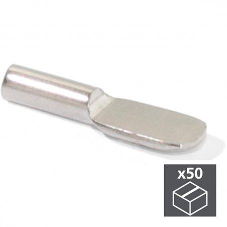Lote de 50 soportes para estantes de madera tipo cucharilla Ø5mm acero niquelado Emuca