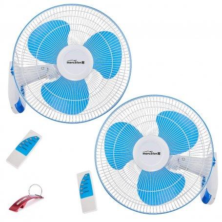 Conjunto de 2 ventiladores de pared con mando Ø40 45W Mercagas