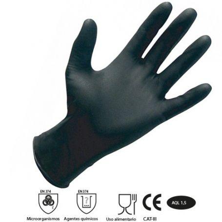 Guante de nitrilo negro S (caja 100 unidades) Damesa