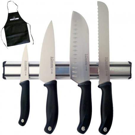 Juego de 4 cuchillos Evo con soporte magnético 30cm 3 Claveles