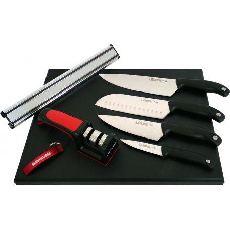 Juego de 4 cuchillos Evo en soporte magnético 30cm + afilador + tabla de corte 40x30 3 Claveles
