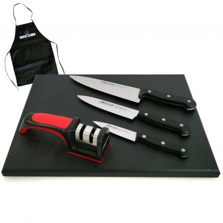 Juego de 3 cuchillos cocinero 100-150-200mm Universal Arcos + tabla de corte 40x30cm + afilador