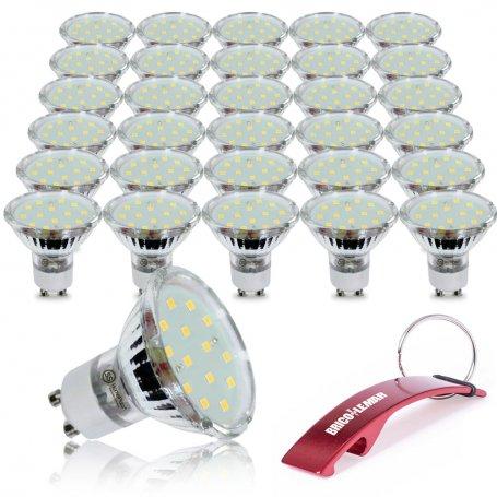 Lote de 30 lámparas dicroicas 18 Leds GU10 4.6W 6000K GSC Evolution