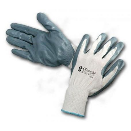 Guantes nitrilo gris dorso nylon blanco talla 7 Cipisa