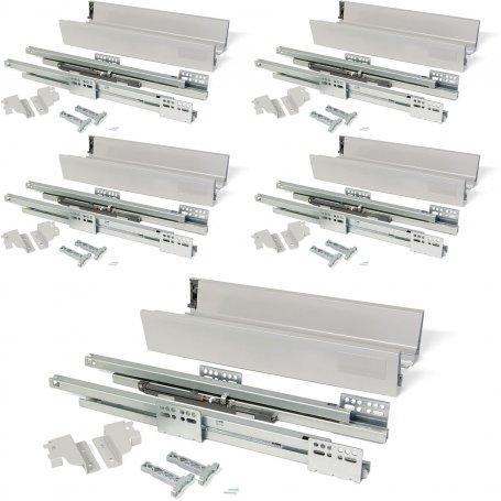 Lote de 5 kits para cajones de cocina Vantage-Q altura 83mm profundidad 450mm cierre suave acero gris metalizado Emuca