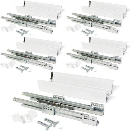Lote de 5 kits para cajones de cocina Vantage-Q altura 83mm profundidad 500mm cierre suave acero blanco Emuca