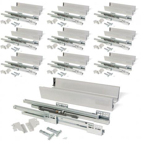 Lote de 10 kits para cajones de cocina Vantage-Q altura 83mm profundidad 500mm cierre suave acero gris metalizado Emuca
