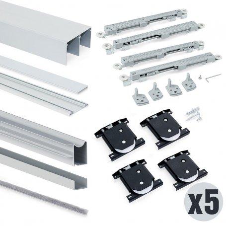 Lote de 5 kits de sistema corredero para armario 2 puertas rodadura inferior espesor 18mm perfiles aluminio Emuca
