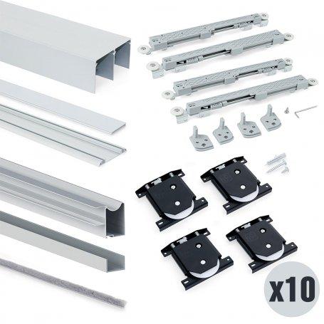 Lote de 10 kits de sistema corredero para armario 2 puertas rodadura inferior espesor 18mm perfiles aluminio Emuca