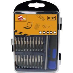 Cofre atornillador mini puntas 32 piezas Leman